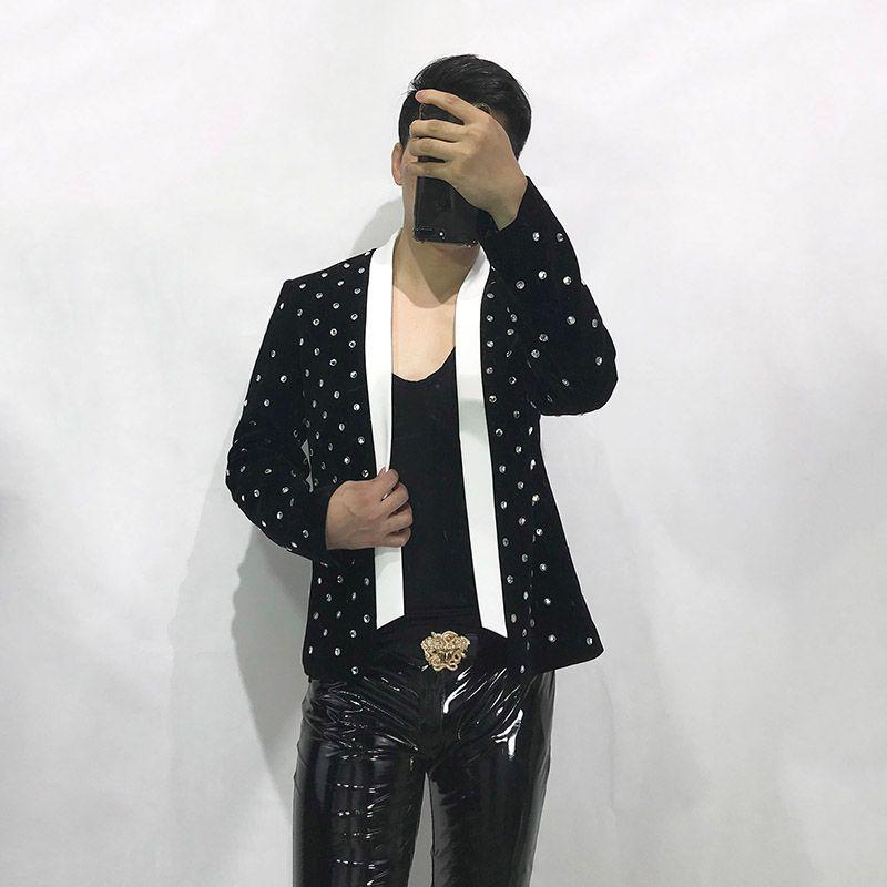 Kostenloser Versand Herren Schwarz Strass Perlen Weiß Kragen Tuxedo Jacke / Mode Outfit / Red Teppich