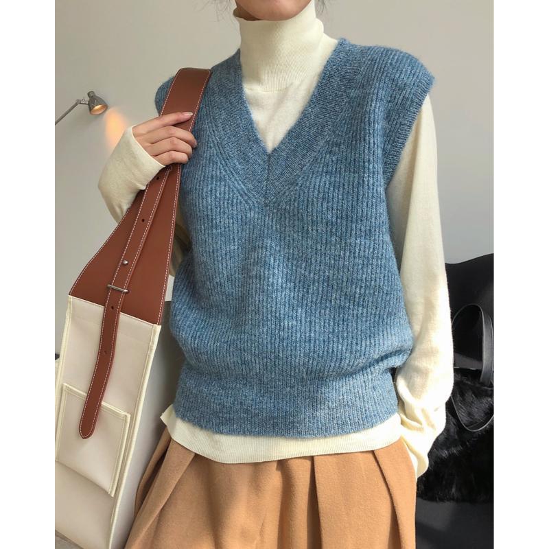 Invierno Nuevo estilo V-cuello alpaca lana tejida chaleco suelto y fino sin mangas sin mangas mujeres