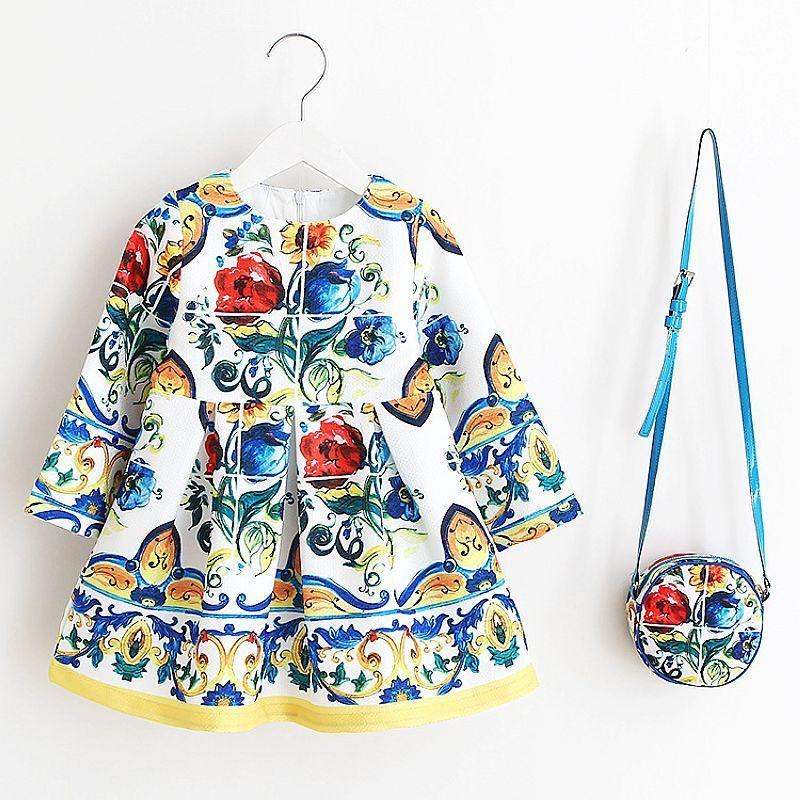 Baby Mädchen Kleid mit Tasche Marke Kinder Herbstkleider für Mädchen Kleidung Floral Kinder Weihnachtskleid Prinzessin Vestidos F1205
