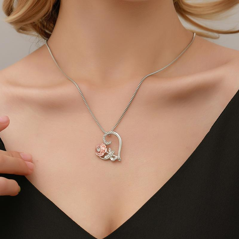 Fashion Rose Heart Pendant Valentines day Designer favors Necklace Womens Jewelry Gifts Women Zircon Allloy Gift VTKY2329