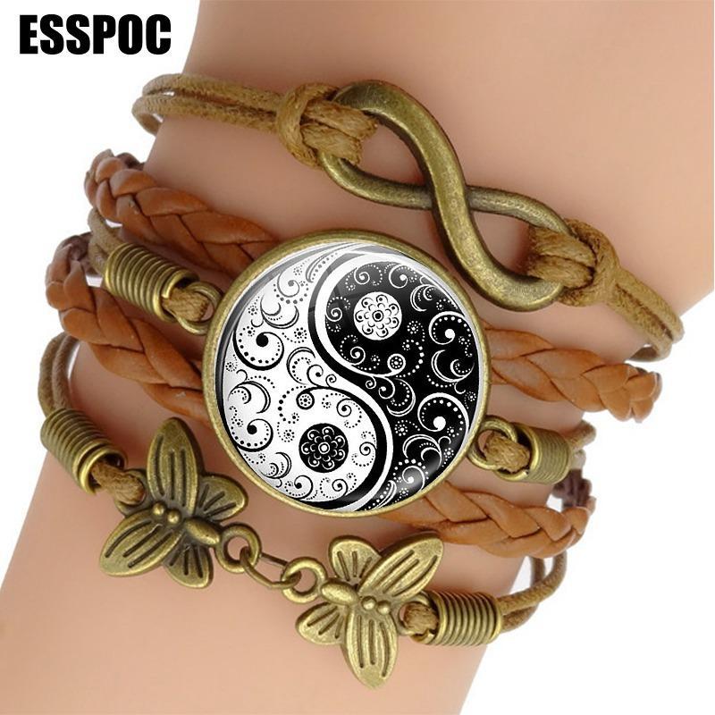 YIN YANG TAI CHI веревочный браслет черно-белая медитация заплетенные кожаные браслеты панк-обертывания для женщин мужчин подарки Y1218