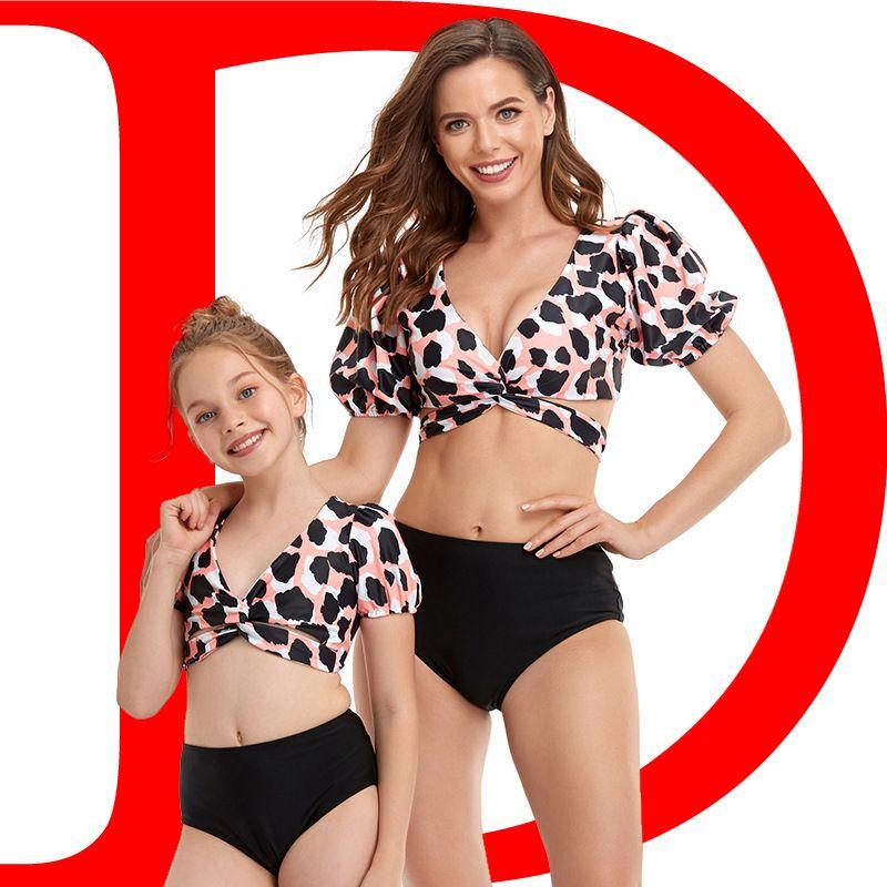 3colour S-XL 2021 새로운 비키니 패션 섹시한 수영복 교차 경계 Hifish 부모 - 자식 수영복 퍼프 슬리브 34634103619448