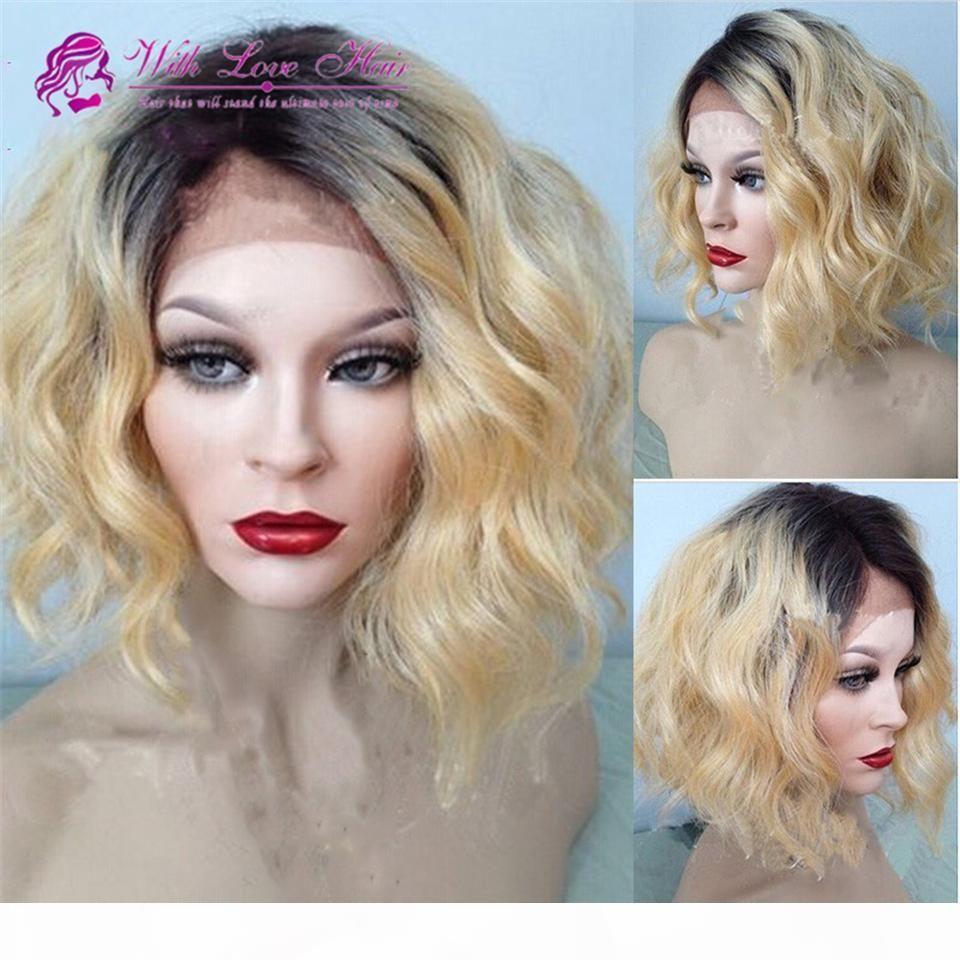 Ombre Sarışın Renk 100% Malezya Virgin İnsan Saç Tam Dantel Peruk Dantel Ön Peruk Ağartılmış Knot Ombre İnsan Saç Peruk