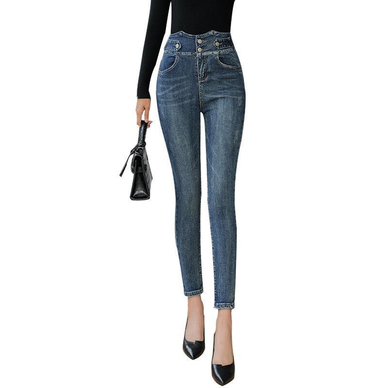Los pantalones vaqueros de las mujeres 2021 el abdomen elástico de la cintura alta era de los pies delgados lápices