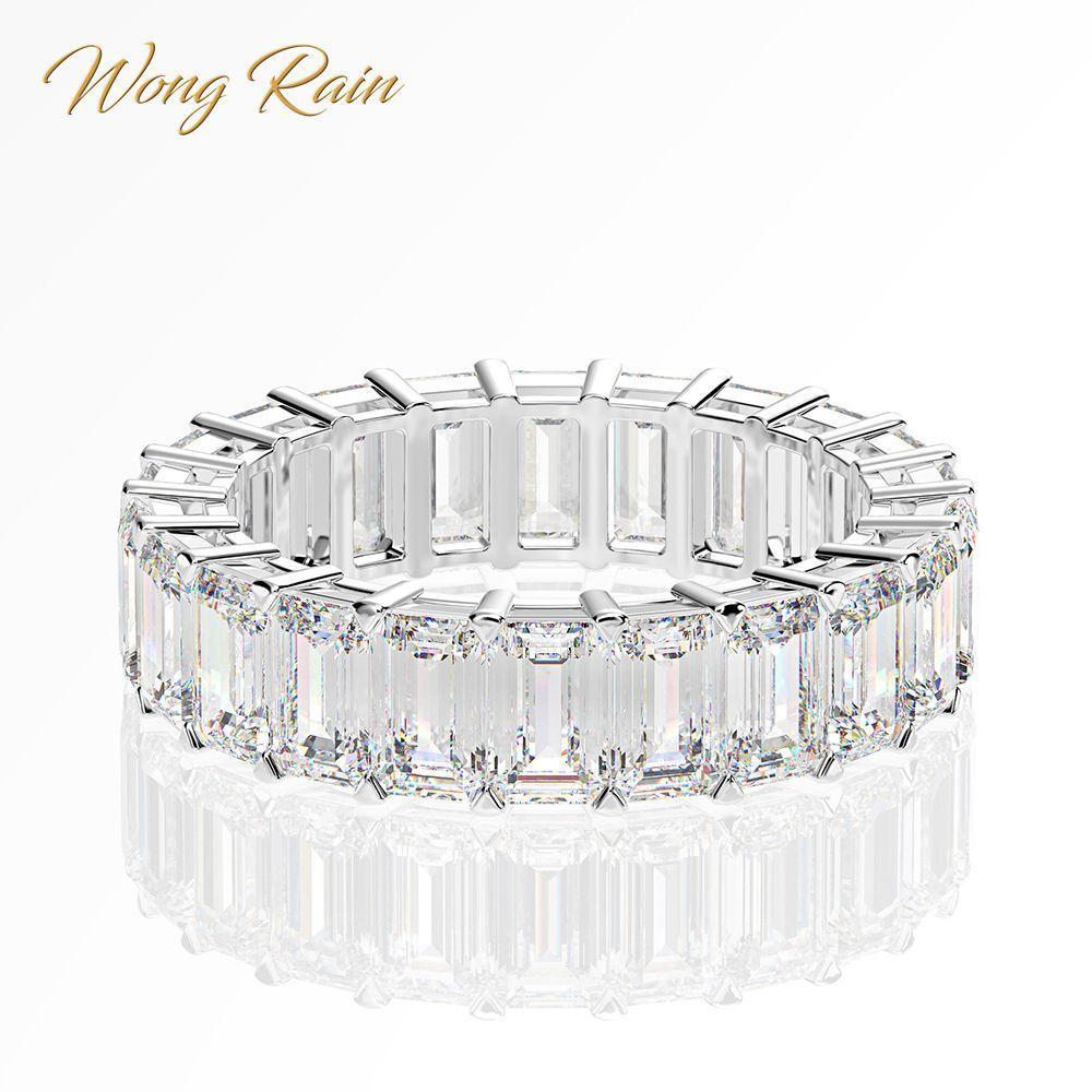 Wong Yağmur Lüks 925 Ayar Gümüş Oluşturulan Mozanit Taş Düğün Band Nişan Beyaz Altın Yüzük Güzel Takı Toptan Y1124
