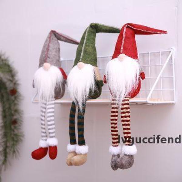 Neues design 50 * 11 cm Gesichtslose Puppe Weihnachten Show Fenster Dekorationen Weihnachtspuppe Santa Claus Dekor Lange Beine Puppe Für Weihnachtsgeschenk