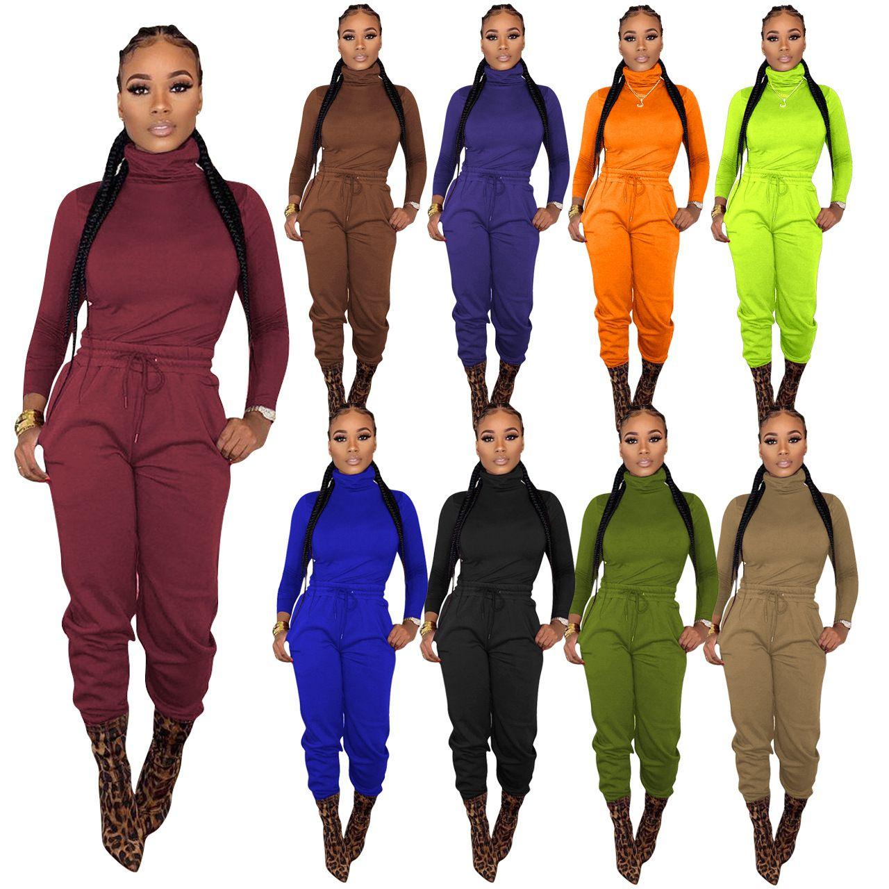 düz renk uzun kollu kazak pantolon 2020 yeni derin V fermuar seksi kadın kapüşonlu ceket pantolon iki parçalı set TVW19051 womens