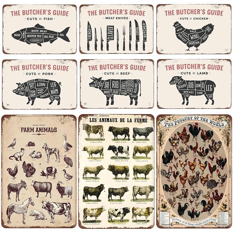 2021 Funny Cut Animal Plaque Métal Vintage Signe d'étain Pin Up Shabby Chic Décor Signe Vintage Bar Décoration Rétro Poster Pub Plaque