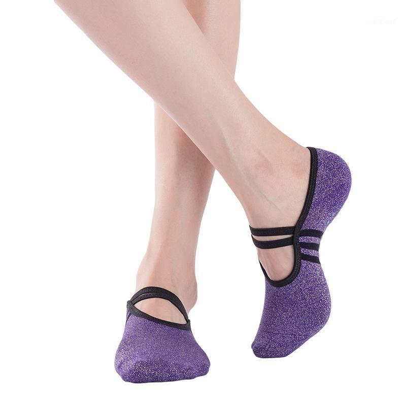 Спортивные носки YOGA Женщины Без спинки хлопчатобумажные нескользящие повязки Вентиляция Пилатес Балетные танцы Sock Slippers1