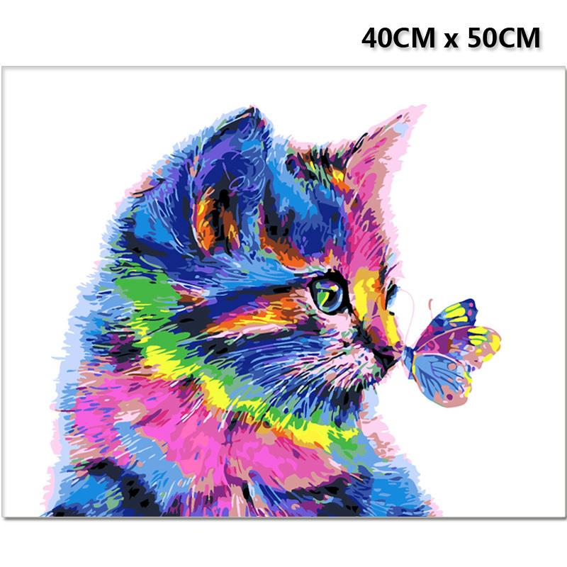 Frameless Colorful Cat & Butterfly DIY Painting By Numbers Calligraphy Acrylic Paint Animals Paint On Canvas Artworks Home Decor Q1123
