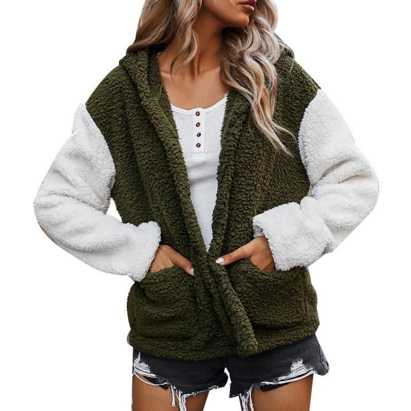 Women Loose Casual Long Sleeve Jackets Tops Warm Soft Outwear Women's Autumn and Winter Color Matching Hooded Jacket Thickened