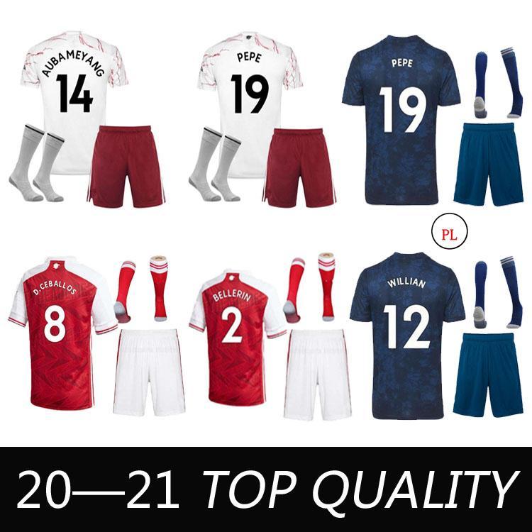 21 22 Saka Thomas Soccer Jersey Man Kit Kit con calcetines 2021 Pepe Nicolas Ceballos Henry Guendouzi Sokratis Willian Football Shirt