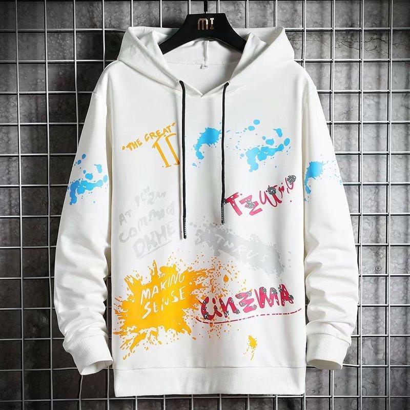 Sweats à capuche de nouveaux hommes Spring Automne Streetwear à manches longues Pull Sweatshirts Hommes Casual Corean Style Graffiti Hoodie Hommes