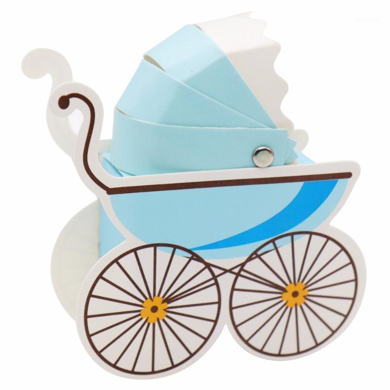 10 stücke Papier Candy Box Kinderwagen Form Babyparty Favors Kinder Geburtstagsfeier Hochzeit Geschenke Baby Shower Decor Supplies1