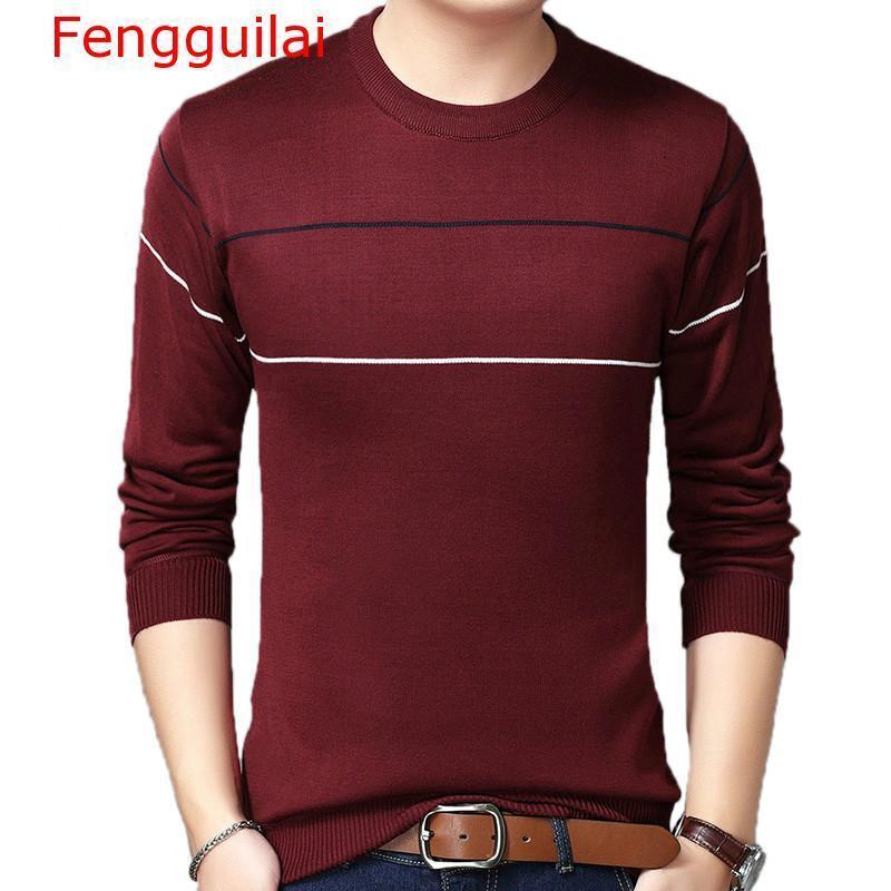 Fengguilai 2019 Marke Herbst Pullover Gestreifte Pullover Kleid Jersey Gestrickte Pullover Männer tragen Slim Fit Strickwaren Mode Tuch