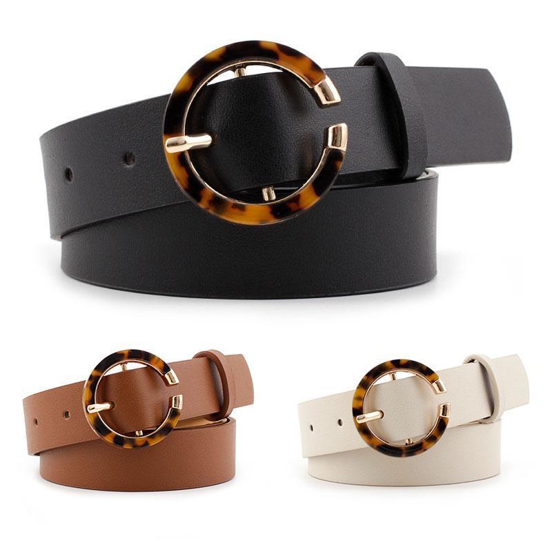 Luxury-Donne Belt Belt Belt Vintage Fibbia rotonda Cinture femminili Pelle decorative Cinture da donna Semplice Semplice Cintura a colori solido 2020 Ultime