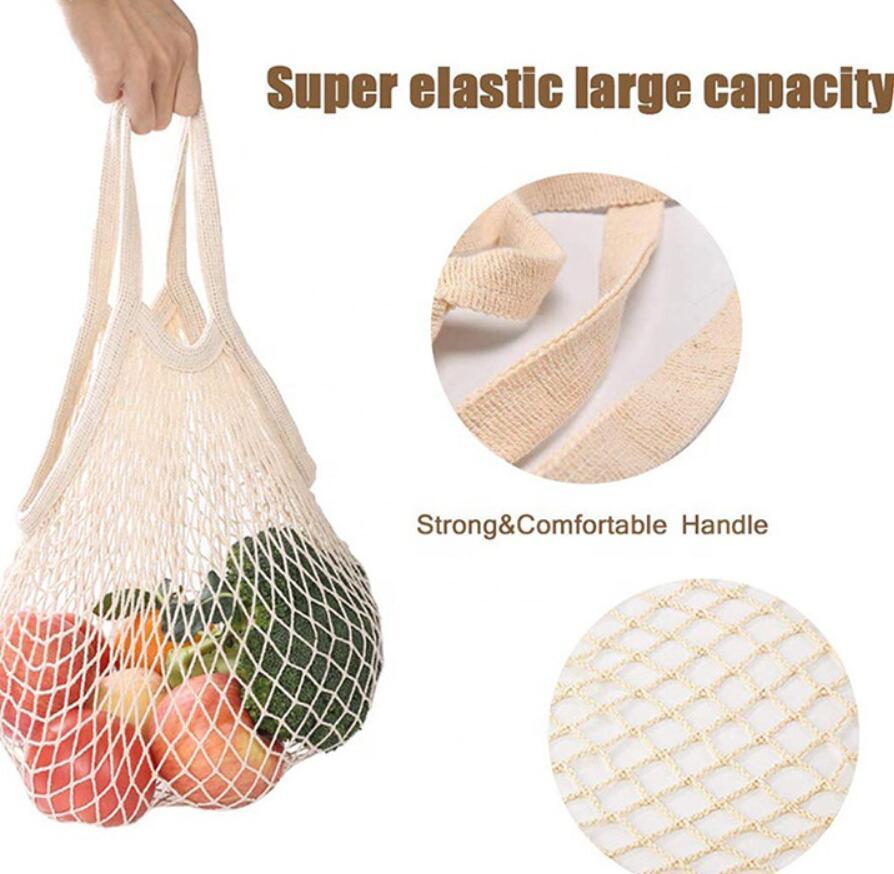Шоппинг-продуктовый мешок многоразовый покупатель Tote Fishing NET большой размер сетки чистые тканые хлопковые сумки портативные сумки для домашнего хранения DHC4056