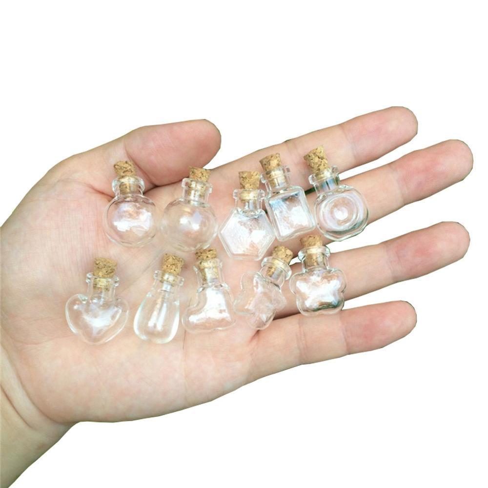 10 الأشكال من الزجاج الصغيرة الحلي مع كورك البسيطة الحرف عطور ورغبة سفر الفرعية زجاجات جميل محظوظ فيال DIY هدية