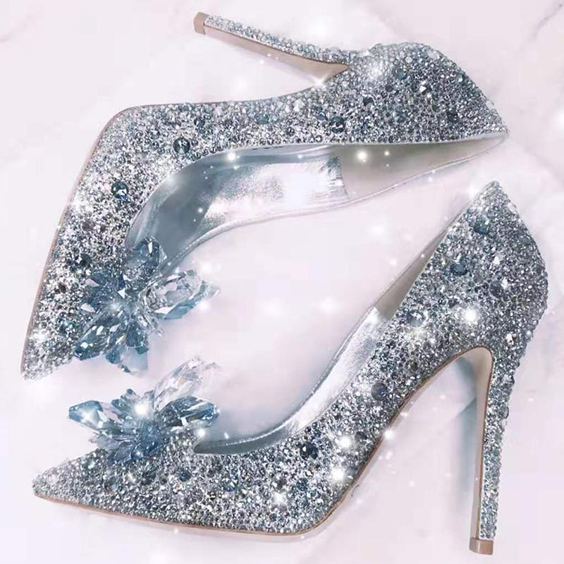 2020 Newest Cenicienta Zapatos Rhinestone Tacones altos Mujer Bombas Puntas puntiagudas Toe Mujer Crystal Party Boda Shoes 5CM / 7CM / 9CM
