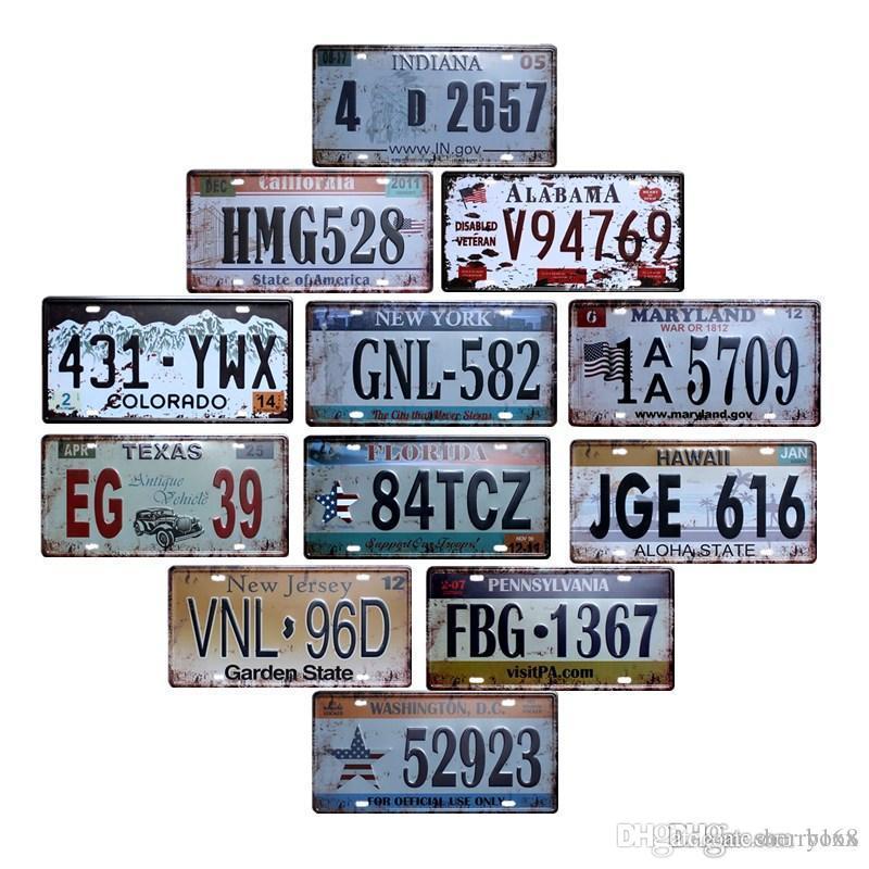 2021 American Car Plaques Numéro USA Plaque d'immatriculation Plaque de garage Plaque métallique Tin Signe Bar Garage Accueil Décoration Vintage Home Décor Taille 15x30cm