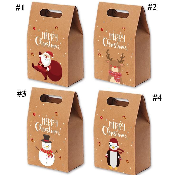 Рождественские подарочные пакеты Xmas Vintage Kraft Paper Apple Candy Case Party Party Bag Bag Рука обернутая упаковка Украшения Партии Предоставляет Поставки DHC4272