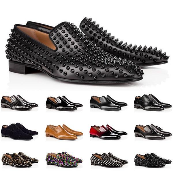 Moda Erkek Hakiki Deri Ayakkabı Kırmızı Dipleri Düşük Kesim Çivili Spike Elbise Ayakkabı Düğün Parti Eğitmenler Sneakers Boyutu 40-47