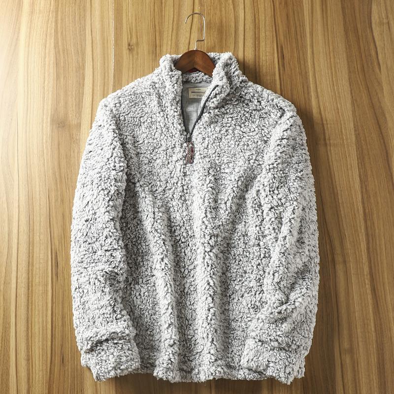 남성용 스웨터 미국 단일 가을 겨울 지퍼 풀오버 스웨터 남성과 여성용 두꺼운 부드러운 캐시미어 코트 패션
