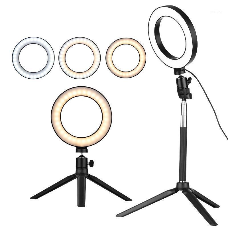 Flash Heads Pography 6 Inch Mini LED Ring Light Lamp 3 Lighting Modes Desktop Tripod Ballhead For Selfie Makeup Youtube1