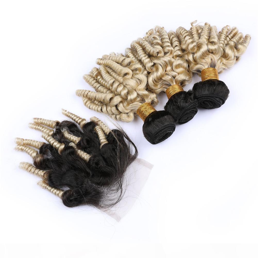 # 1b 613 Rubia Ombre Tiancia Funmi Malasia Paquete de cabello humano con cierre Ombre Rubio Funmi rizado 3pcs paquetes con cierre de encaje delantero 4x4