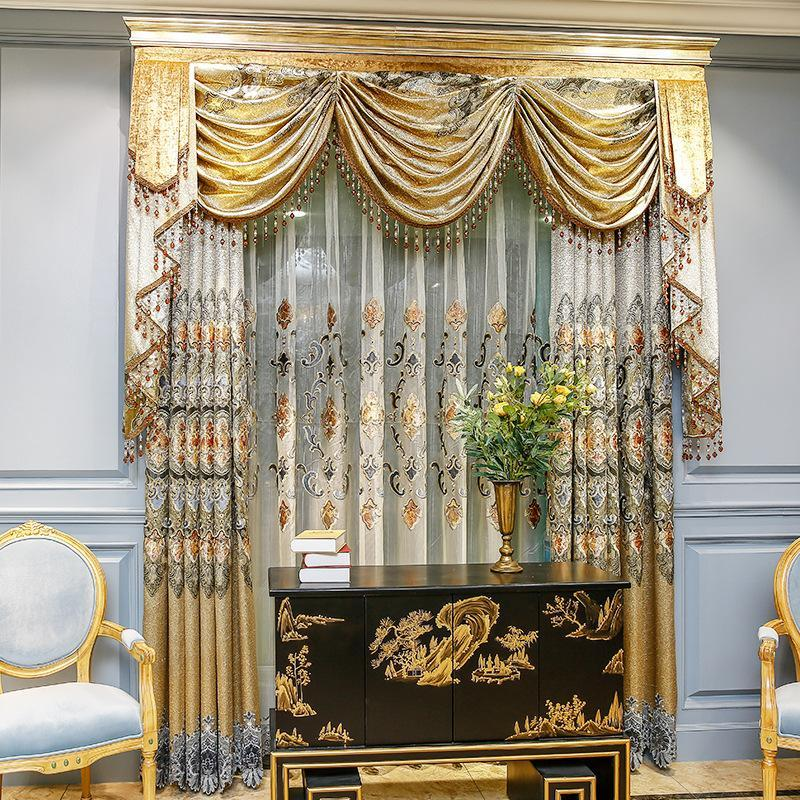 Classic European Luxury Embroidery Stitching Curtains for Living Dining Room Bedroom