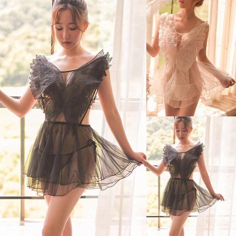 Sexy Mesh Femmes Lingerie Nightwear Noir Blanc En Blanc Dentelle Broderie V-Col V-Couleur Sans manches Sleepwear Mini Night Robe W31