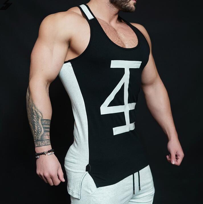 Colete dos homens dos irmãos dos esportes muscular na primavera e do verão puro de algodão de cor de fitness Treinamento de secagem rápida