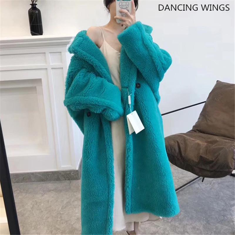 Зимняя мода свободный плюшевый мишка пальто шерстяной пальто куртка женщин настоящие овец шерсть шерсть негаситx1019