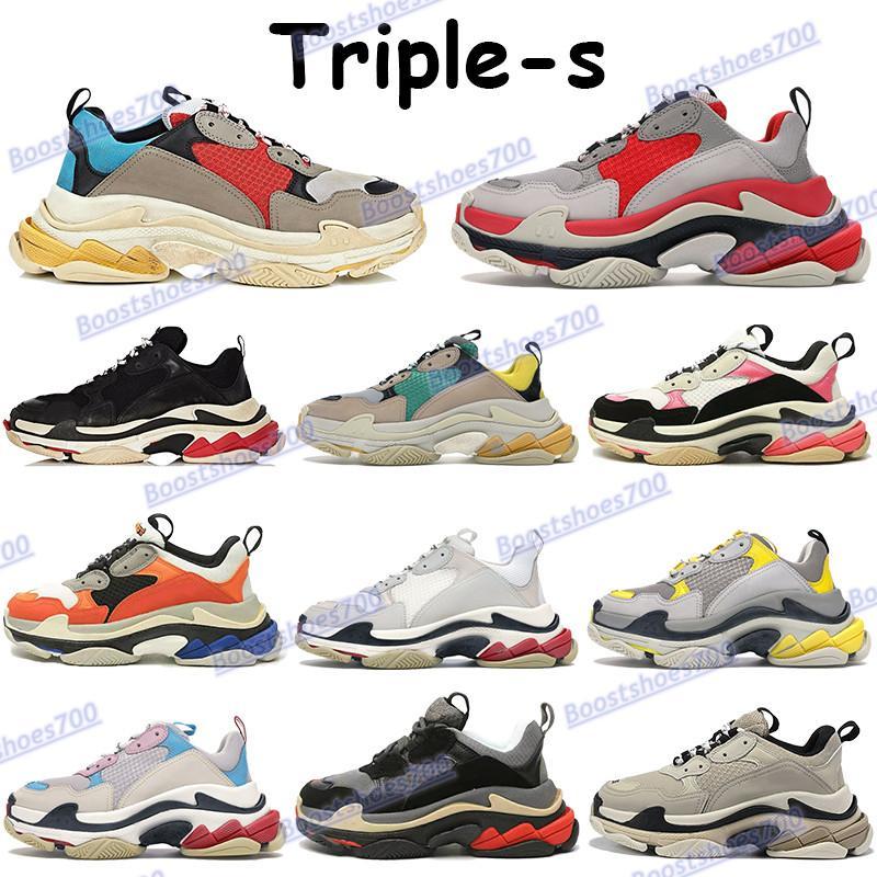 Triple S رجل عارضة أحذية رمادي الأزرق البيج الأخضر الأصفر البحرية الأبيض الأسود روز الذهب والفضة الأحمر chaussures أزياء منصة حذاء