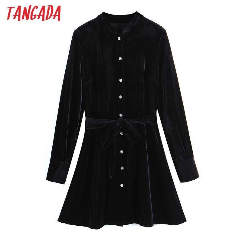 Tangada Mujeres Negro vestido de terciopelo con raya vertical de manga larga y acc botones hembras mini vestidos Vestidos SL151