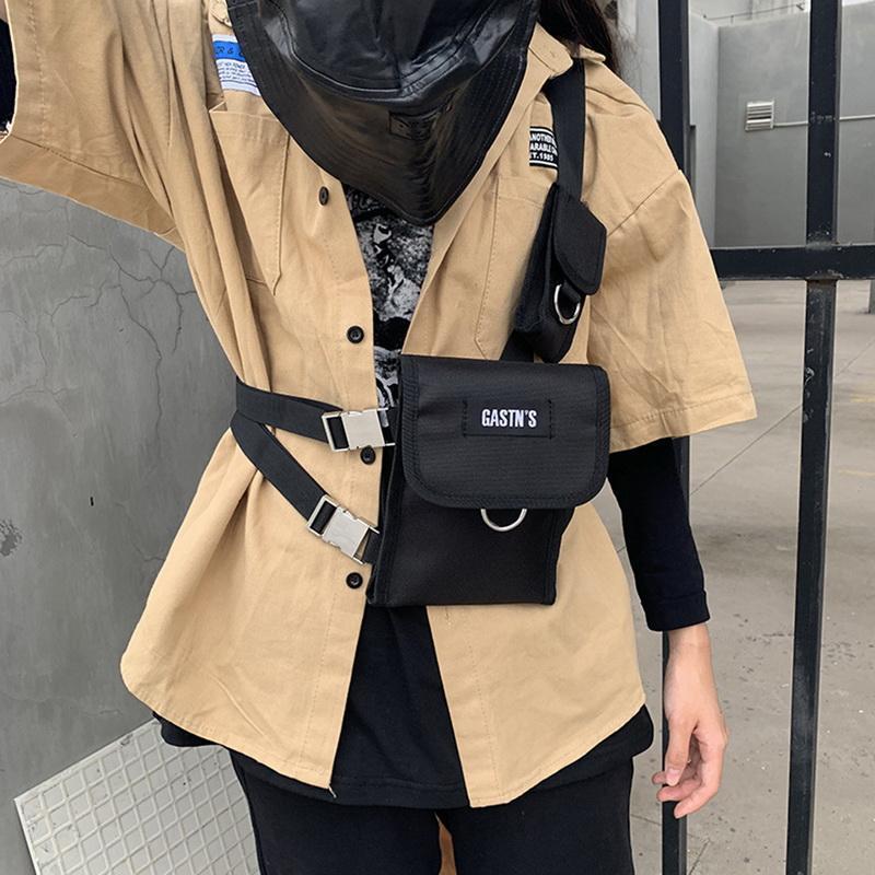 Tatical Streetwear Peito Canvas para Homens Hip Hop Bolsos Ajustáveis Bolsas De Cintura Saco Veste Múltiplos Bolsas De Cintura Masculina Bolsas De Cintura Nfftf