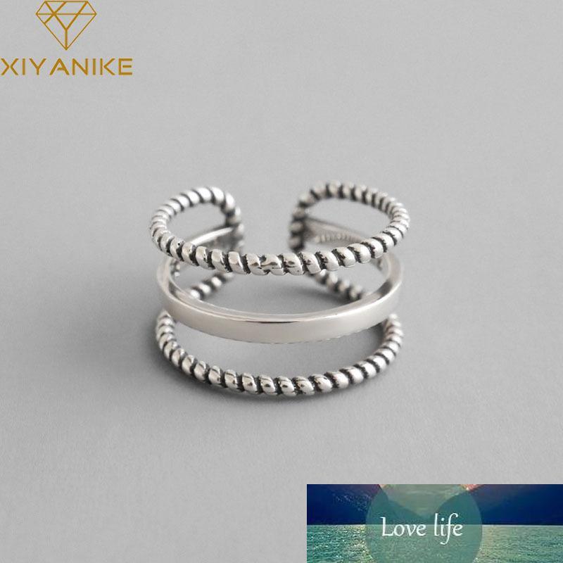 925 Sterling Silber Party Ringe Vintage Weberei Dreischichtige offene Fingerschmuck für Frauen Paare Hochzeitszubehör