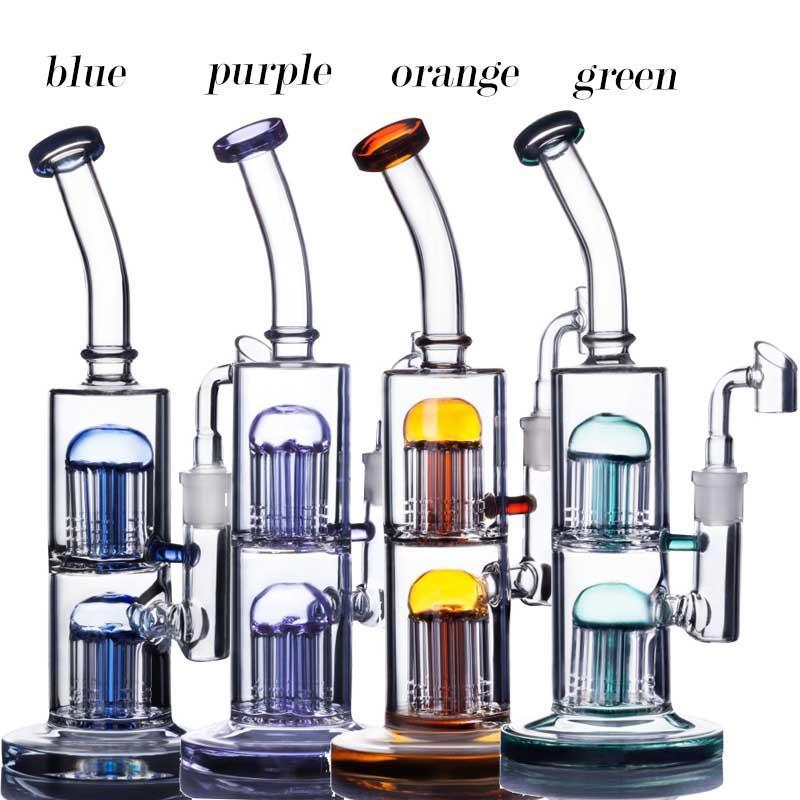 Double Arm Tree Perc Bongs Glass Water Bongs Recycler Dab Rigs Percolater Dab Rig Glass Water Pipe 14MM Glass Banger