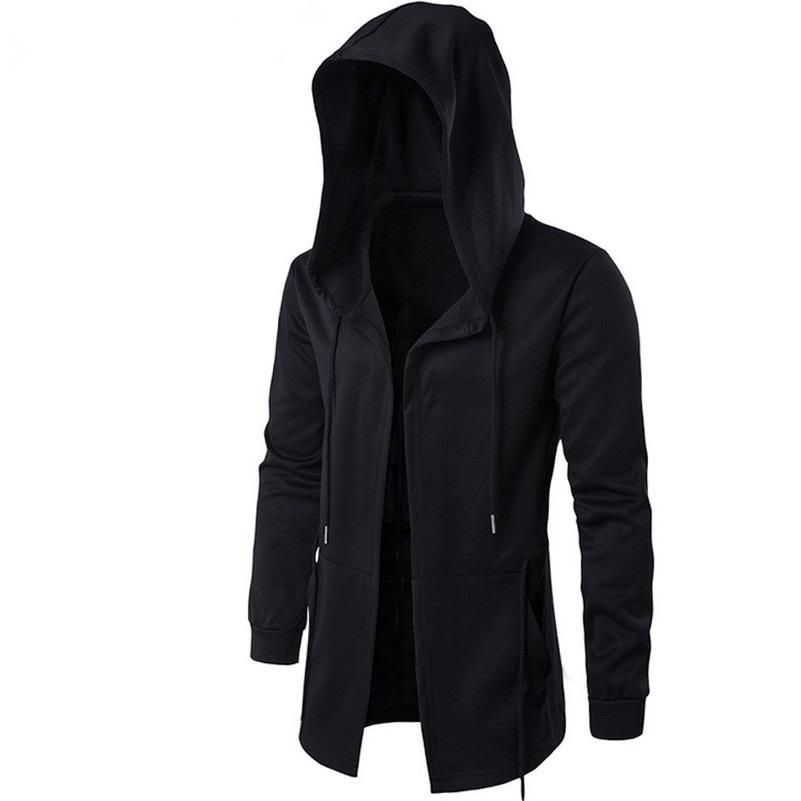 Caja masculina delgada Capa negra con sudadera con capucha Mangas de pareja Largo Hip Hop Suéteres Manto Outumn Outwear Streetwear