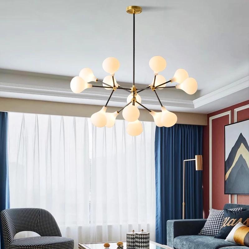 Norbic Korte Witte Glazen Bal LED Lamba Hanglamp Armatuur Post Moderne DIY Globle Sihirli Bean Eetkamer Hanglamp