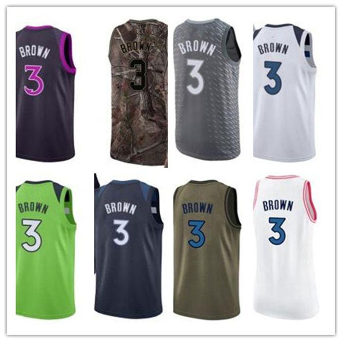 custom 2020 Timberwolve style jerseys black white green grey Army green 3 AnthonyBrown basketball jersey