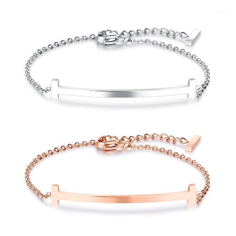 Braccialetto del braccialetto del braccialetto del sorriso a forma di T di modo per le donne dell'acciaio inossidabile della rosa in acciaio inossidabile di colore del marchio di colore del marchio elegante regalo di gioielli elegante1