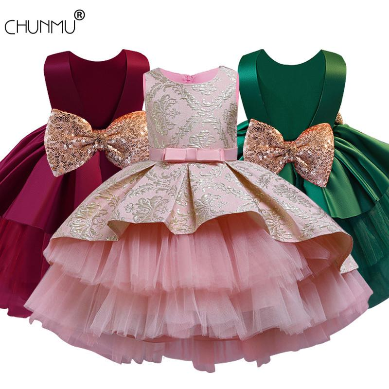 Flower Kids Dresses For Girls Lace Embroidery Dress Wedding Birthday Little Girl Ceremony Party Dress Children Clothing F1202
