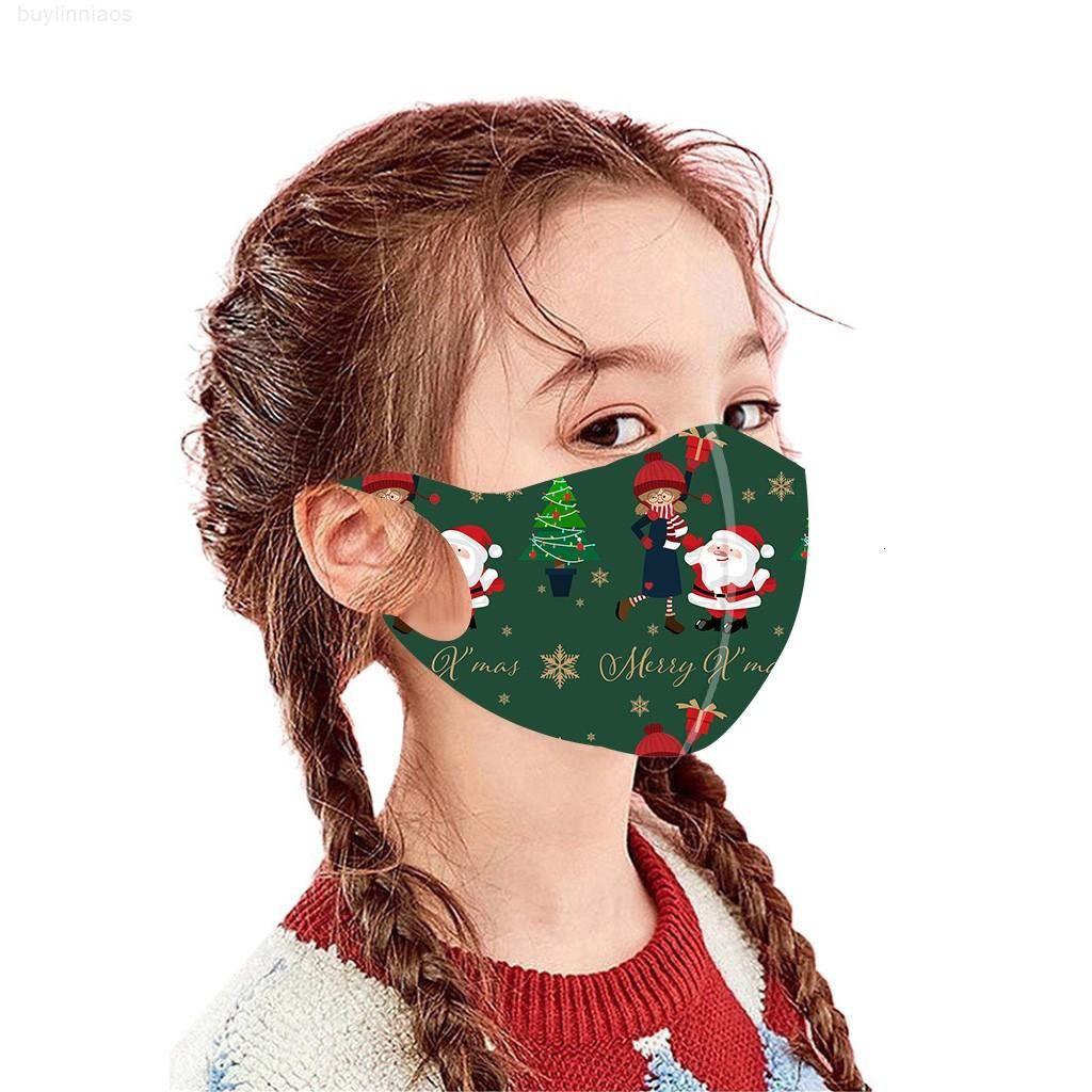 Gedruckte Weihnachtskinder Party Gesichtsdekoration Mode Masken für Santa Claus Wiederverwendbare Mundabdeckung Maske Masque Coton Reutilisa WMTXHC