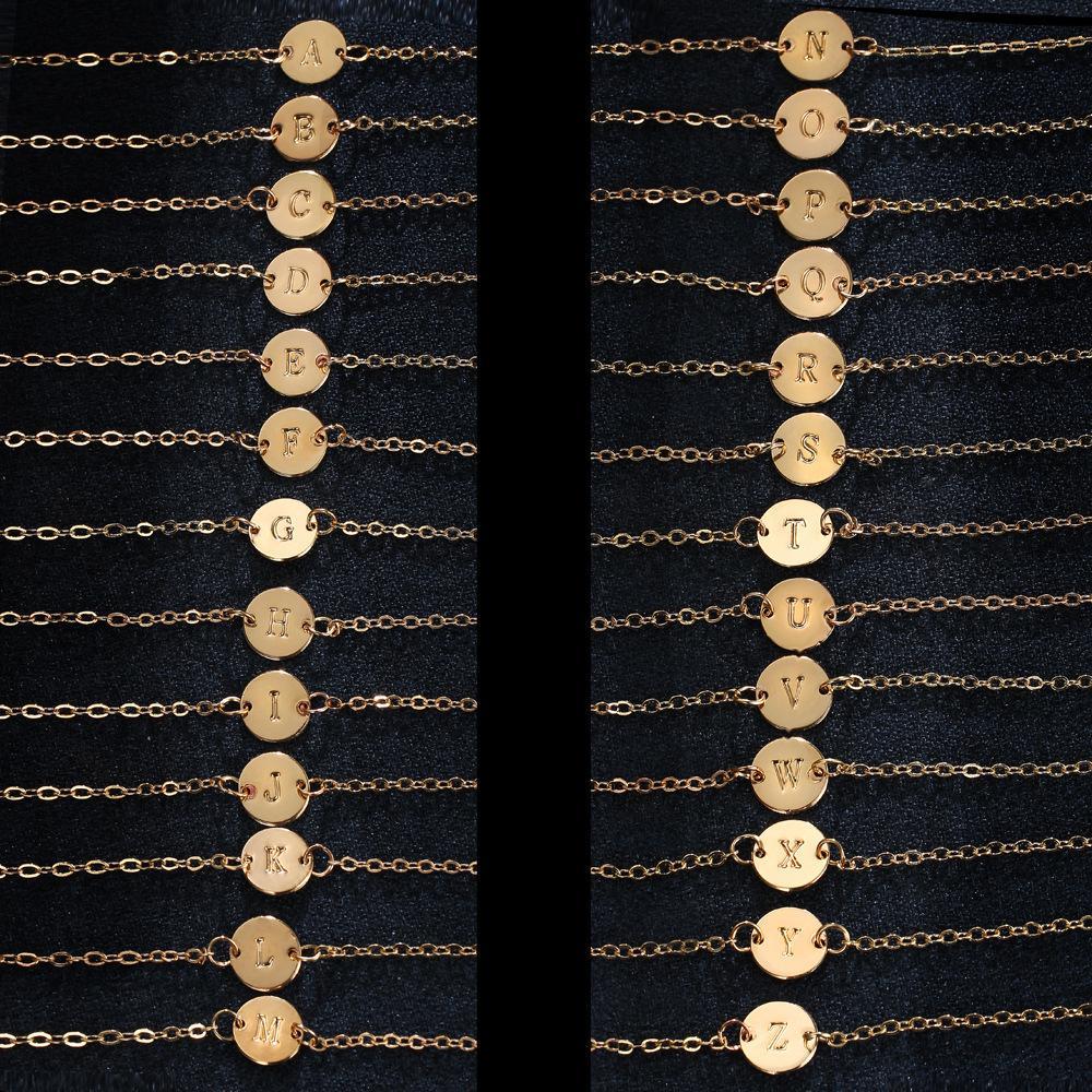 Venda quente mais novo banhado a ouro A-Z carta de pingente pulseira pulseira ankles casal jóias presentes festa de presentes de natal