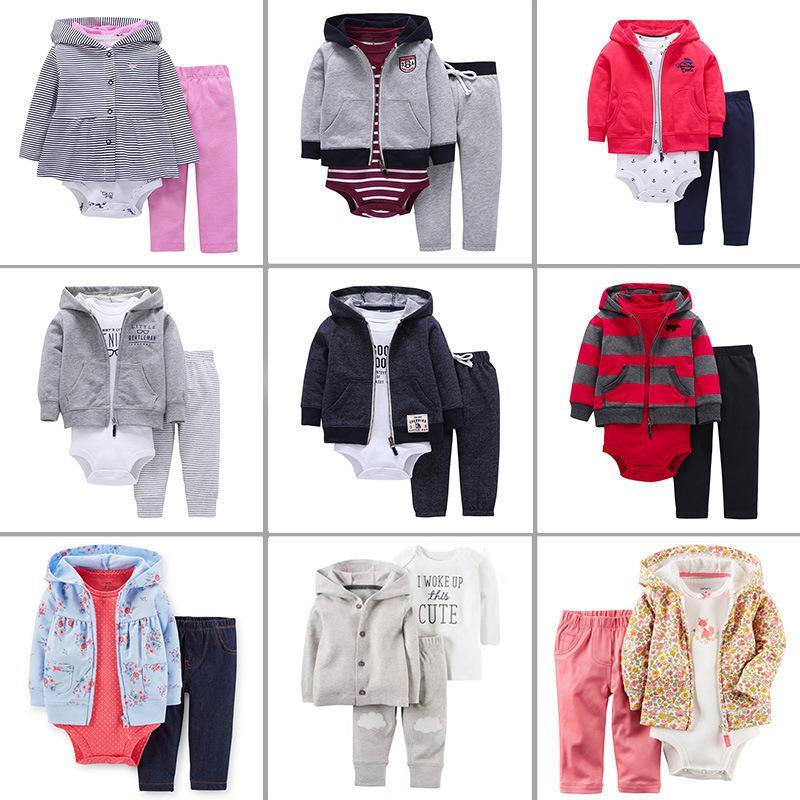 2019 Primavera Autumn New Fashion Fashion 3pcs Baby Boy Girl Abbigliamento Set di cappotto Body Gilet Pants, Bambini Abbigliamento cardigan Set Y1113