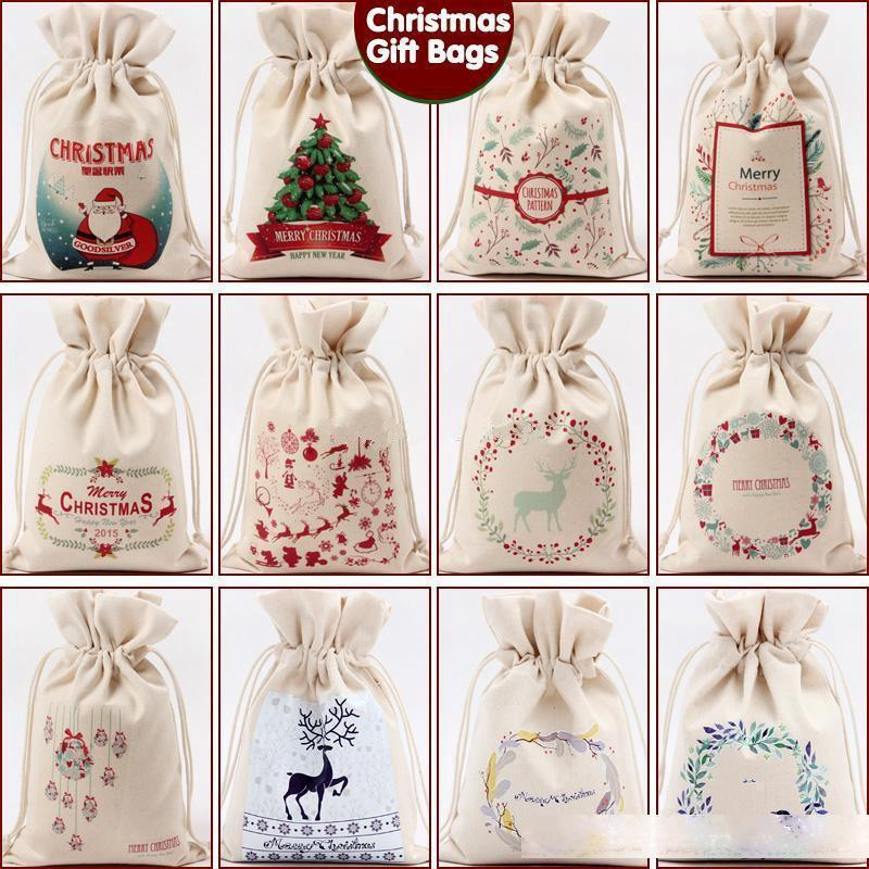 Christmas Gift Bag Pure Cotton Canvas Drawstring Sack Bags 12 Stypes With Xmas Santa Design For Gifts Candy