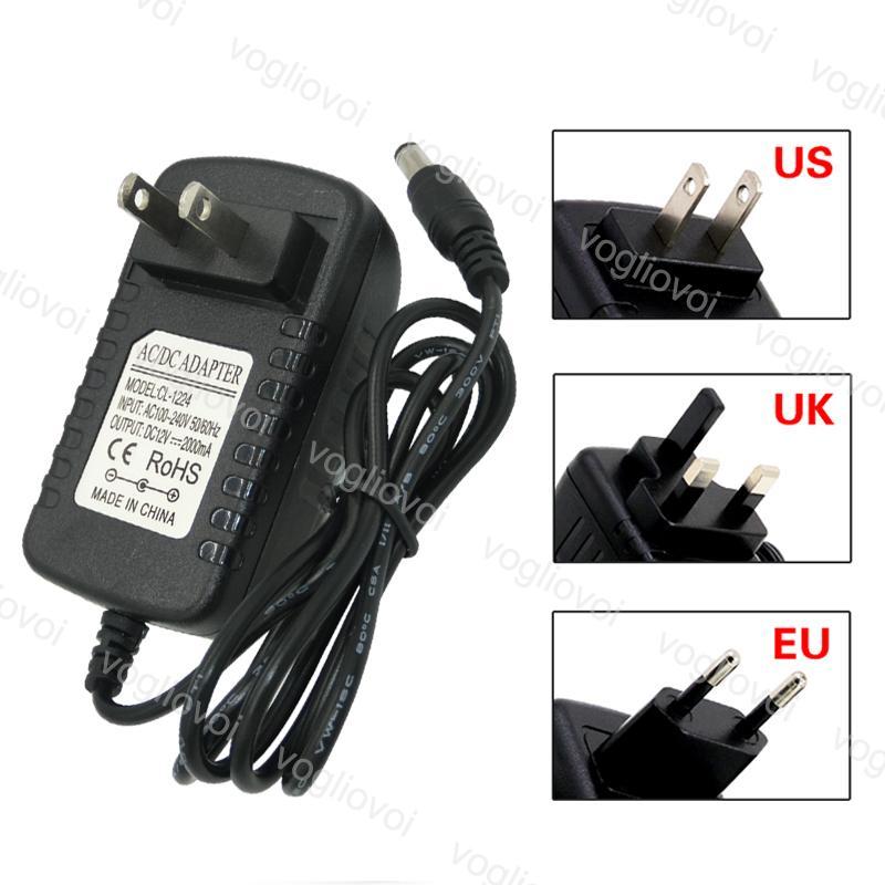 Transformadores de iluminación Adaptador de suministro de energía EE. UU. UE UK CHUR 110-240V DC12V 2A Accesorios para 5050 3528 LED Strip Light EUB