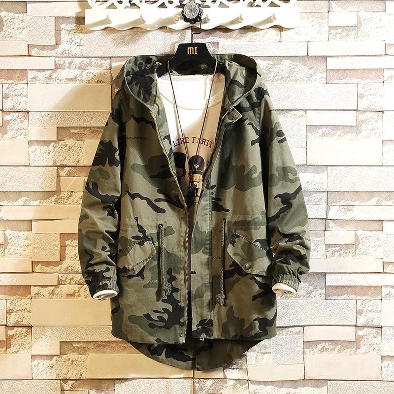 # 2405 Sonbahar Kamuflaj Ceketler Erkekler Için Artı Boyutu 5XL Pamuk Rahat Gevşek Swallowtail Coat Erkek Kapşonlu Cepler Harajuku Dış Giyim