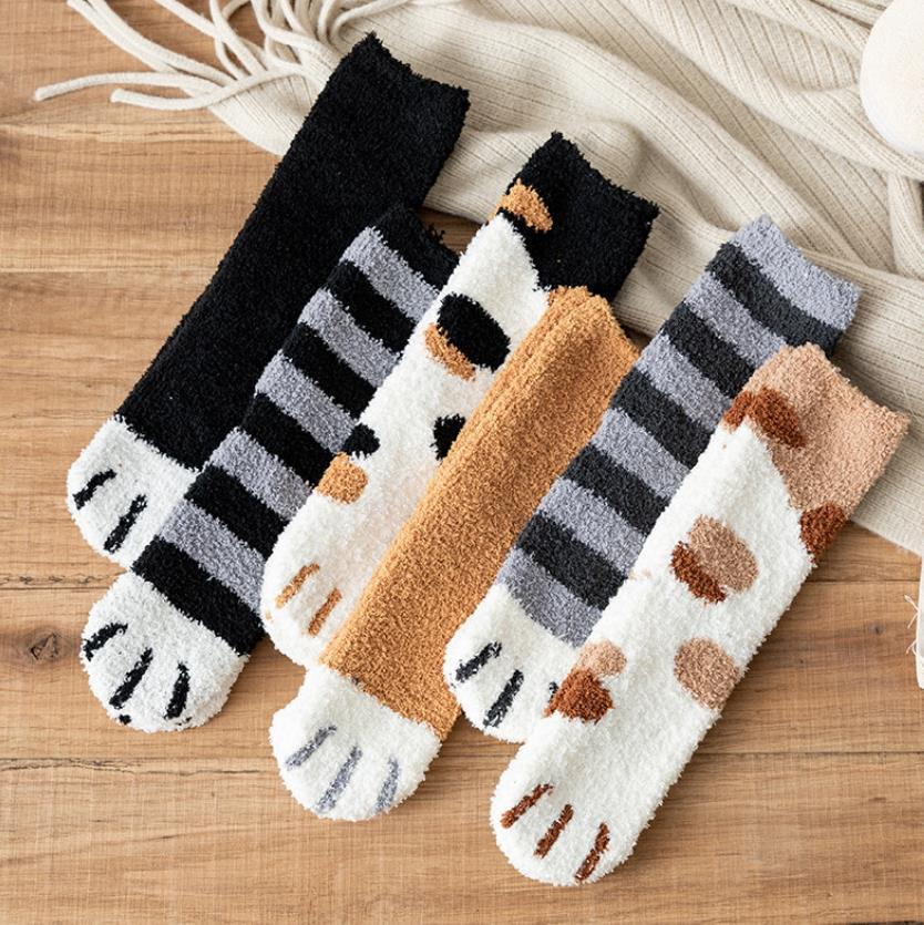 Women Fuzzy Fluffy Thermal Slipper Socks Cartoon Animals Cozy Warm Super Soft Girls Winter Sleeping Socks Indoor Home Christmas gift